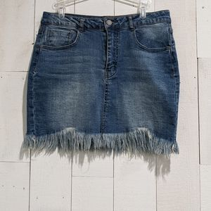 Black Label C'est Fringe Denim Mini Skirt